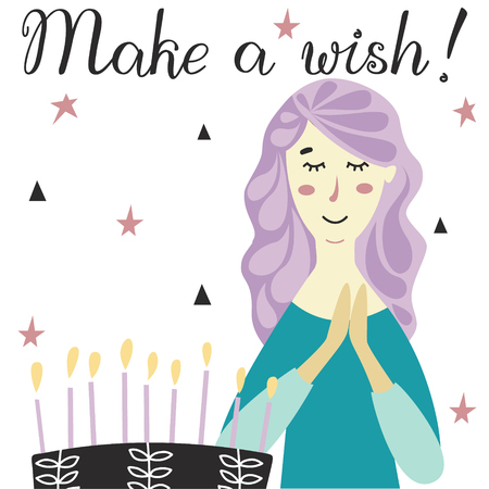 Girl making a wish with Birthday cake and candles. Congratulations lettering text. 写真素材 - 122779029