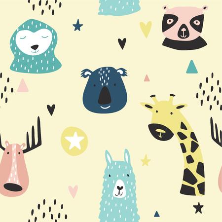 Safari baby animals seamless funny pattern. Vector kid print. Hand drawn doodle illustrations in scandinavian style.