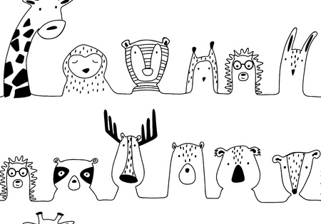 Baby animals cute cartoon seamless pattern in lines style. Doodle hand drawn illustration. Vector.