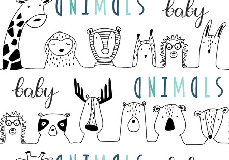 Baby animals cute cartoon seamless pattern in lines style. Doodle hand drawn illustration. Vector