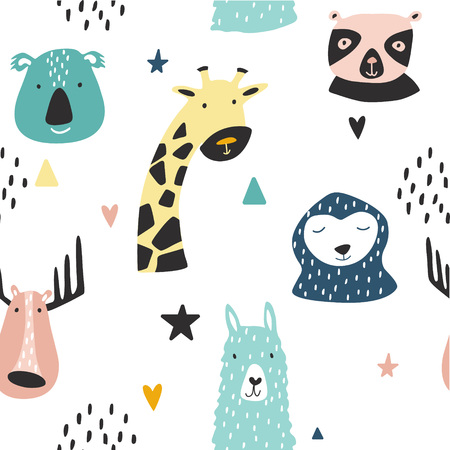 Safari baby animals seamless funny pattern. Vector kid print. Hand drawn doodle illustrations in scandinavian style. 写真素材 - 122779031