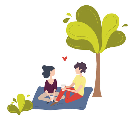 A couple of young people sitting on a blanket in a park and drinking coffee. A pair of man and woman in love. Ilustração