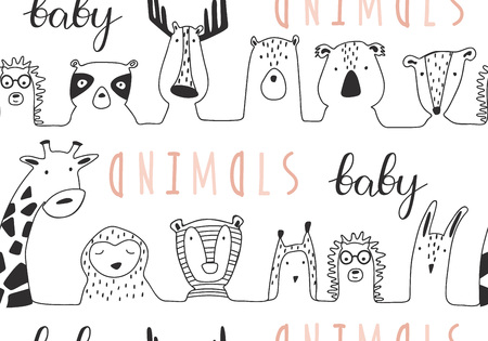 Baby animals cute cartoon seamless pattern in lines style. Doodle hand drawn illustration. Vector 写真素材 - 125625366