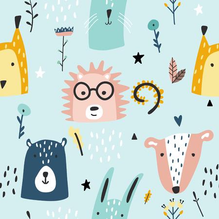 Waldbabytiere nahtloses lustiges Muster. Vektor-Kind-Druck. Handgezeichnete Doodle-Illustrationen im skandinavischen Stil.