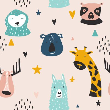 Safari baby animals seamless funny pattern. Vector kid print. Hand drawn doodle illustrations in scandinavian style. 写真素材 - 122779172