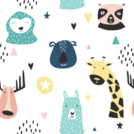 Safari baby animals seamless funny pattern. Vector kid print. Hand drawn doodle illustrations in scandinavian style.