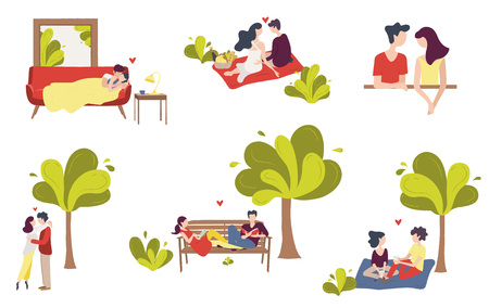 Set of scenes of couples of young people in love. Pair sitting in the street, embracing, lying together, reading, drinking coffee, talking. Vector hand drawing illustration.