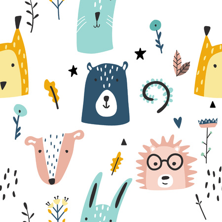 Forest baby animals seamless funny pattern. Vector kid print. Hand drawn doodle illustrations in scandinavian style.