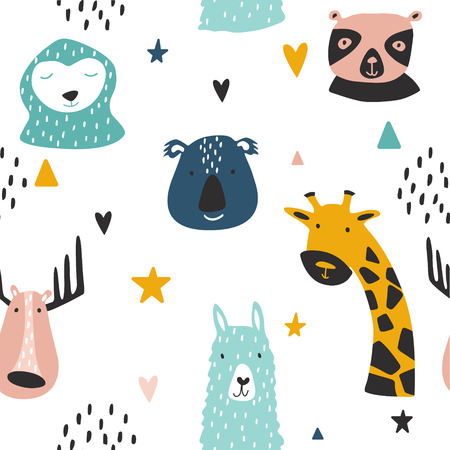 Safari baby animals seamless funny pattern. Vector kid print. Hand drawn doodle illustrations in scandinavian style. 写真素材 - 122779175