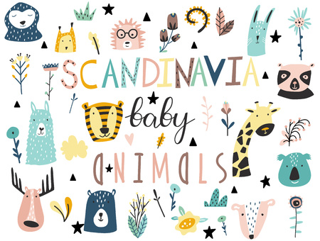 Cute scandinavian style baby animals, plants, flowers and other elements collection. Hand drawn vector illustration.