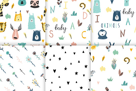 Safari baby animals seamless funny patterns collection. Set of vector kid print. Hand drawn doodle illustrations in scandinavian style. 写真素材 - 122779182