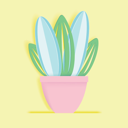 Paper cactus in a flower pot. Hand drawn vector succulent in paper art style. Stock Illustratie