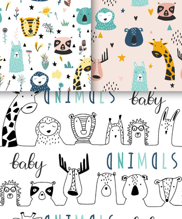 Safari baby animals seamless funny patterns collection. Set of vector kid print. Hand drawn doodle illustrations in scandinavian style. 写真素材 - 122779184