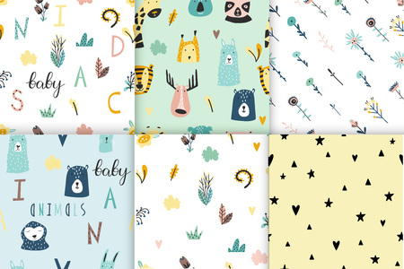Safari baby animals seamless funny patterns collection. Set of vector kid print. Hand drawn doodle illustrations in scandinavian style. 写真素材 - 122779185