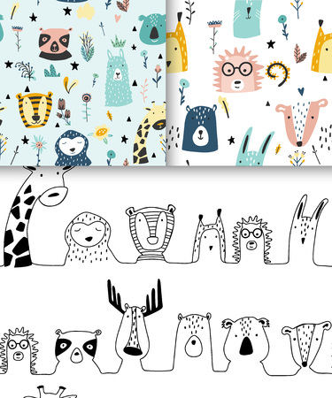 Safari baby animals seamless funny patterns collection. Set of vector kid print. Hand drawn doodle illustrations in scandinavian style. 写真素材 - 122779187