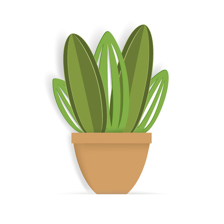 Succulent in paper art style. Paper cactus in a flower pot. Hand drawn vector illustration.