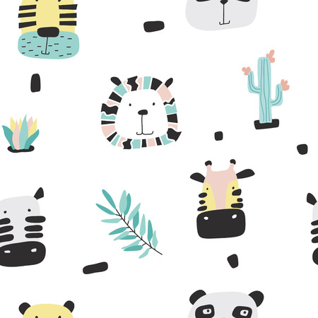 Vector kid print in scandinavian style. Safari baby animals seamless funny pattern. Hand drawn doodle illustrations. Ilustração