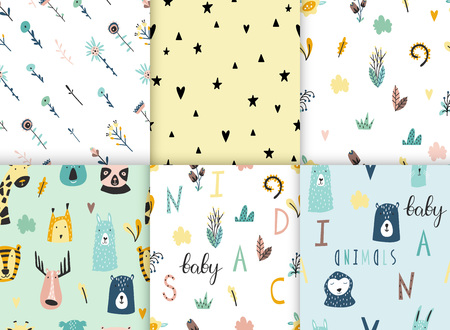 Safari baby animals seamless funny patterns collection. Set of vector kid print. Hand drawn doodle illustrations in scandinavian style. 写真素材 - 122779191