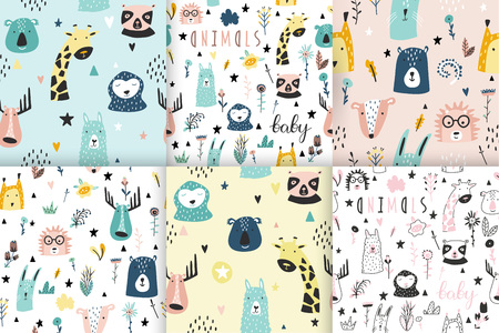 Safari baby animals seamless funny patterns collection. Set of vector kid print. Hand drawn doodle illustrations in scandinavian style. 写真素材 - 122779253