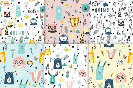 Safari baby animals seamless funny patterns collection. Set of vector kid print. Hand drawn doodle illustrations in scandinavian style.