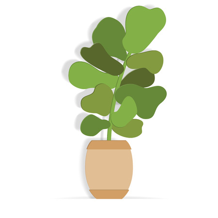 Indoor plant in a flower pot in paper art style. Hand drawn vector succulent. Ilustração