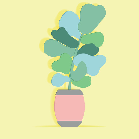 Indoor plant in a flower pot in paper art style. Hand drawn vector succulent.  イラスト・ベクター素材
