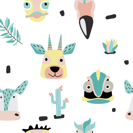 Scandinavian style vector baby print. Seamless funny pattern with safari baby animals . Hand drawn doodle illustration. Ilustração