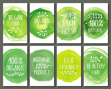 Set of eco friendly labels flyers. Packaging tags for vegetarian healthy products.