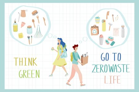 Men with waste for recycling. Women with reusable cup of coffee. People thinking green, holding and using recyclable items. Advertising poster concept. Save the planet.  イラスト・ベクター素材
