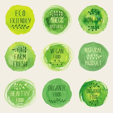 Watercolor green icon collection. Hand drawn painting.Sign label,textured emblem set. Eco friendly, natural  product, organic design template.  イラスト・ベクター素材