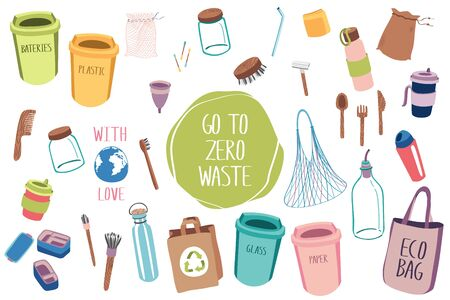 Big set of items for eco lifestyle zero waste life. Eco home. Ecology life. Go green. Less plastic. Çizim