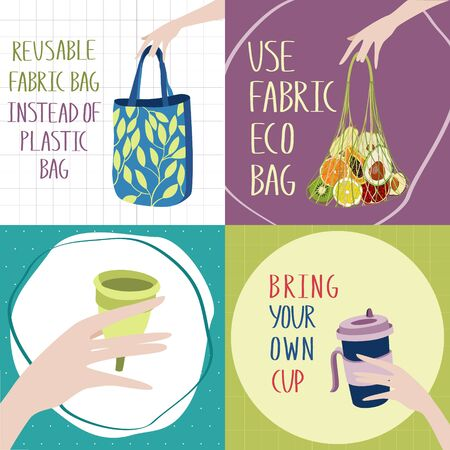 Motivation posters collection. There Is No Planet B. Bring your own cup. Go to zero waste. Textile fabric bag instead of plastic one. Hand drawn illustration.