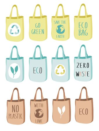 Eco fabric cloth and paper bag with green leaf, Earth, recycling,  and ECO symbols. Care about the environment. Tote isolated on white background. Bags replacement plastic bags.