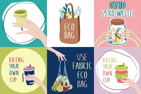 Eco-friendly banners with zero waste lifestyle tips. Textile bag instead of plastic one. Metal or glass cup instead of disposable one. Menstrual cup instead of pads or tampons. Jar of garbage a year.