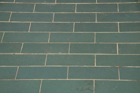 green brick tile floor in the temple Stock Photo