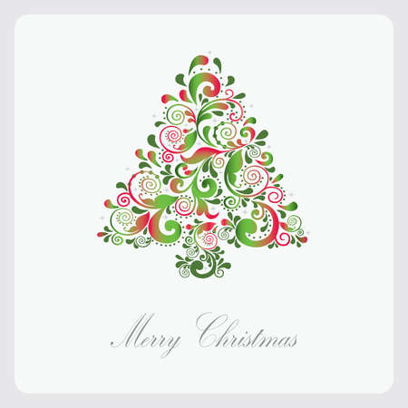 Christmas card. Christmas tree of the leaf pattern. Vector illustration eps.10.  Vector