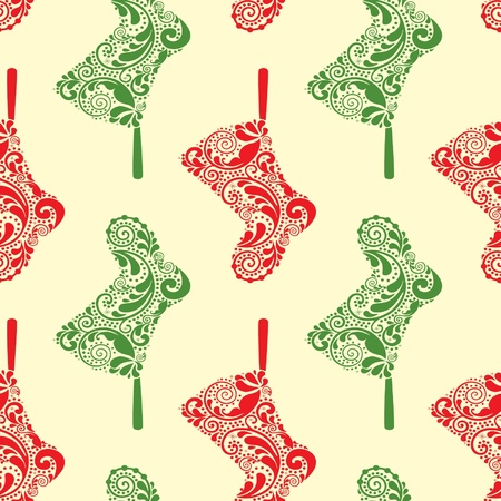 christmas sock: Seamless Christmas pattern with hanging Santa socks.