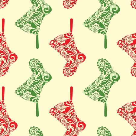 Seamless pattern de No�l avec des chaussettes de Santa suspendus. Illustration