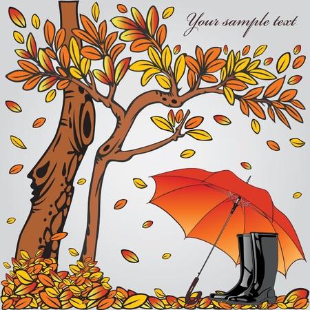 rain boots: Autumn composition.  Illustration