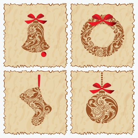 jingle bell: Vintage set of cards with a bell, ball, sock and Santa wreath.