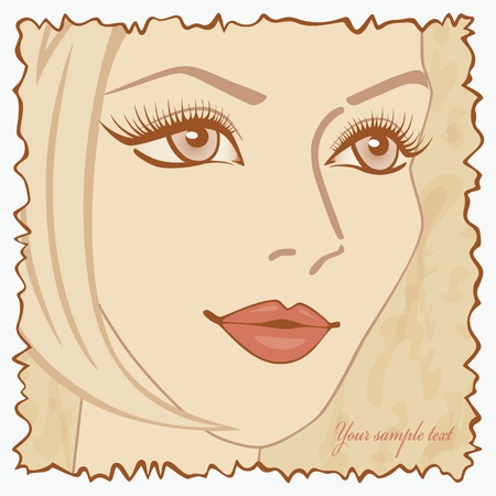 Vintage postcard with a girl. Vector