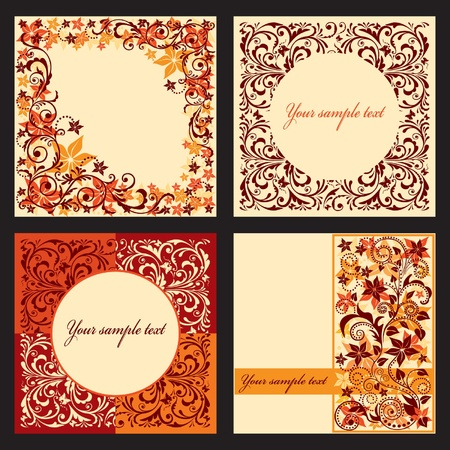 Vector set of autumn cards with a floral pattern. Vector illustration eps.10.  Vector