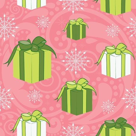 Seamless texture with Christmas gift boxes. Vector
