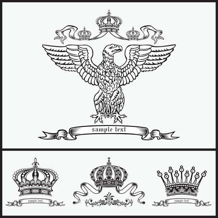Set of heraldic elements.  Illustration
