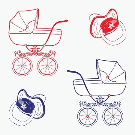 pram: Set of child objects isolated on white background.