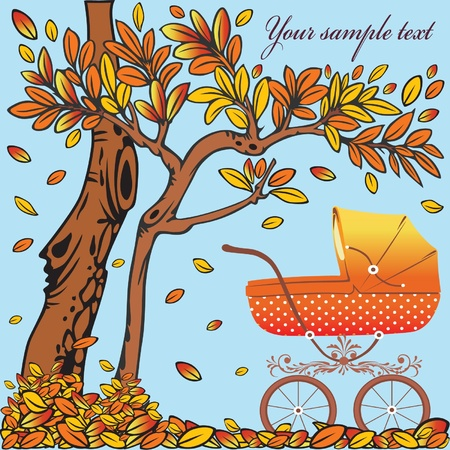Baby carriage in the autumn background