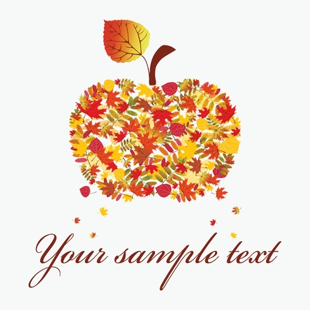 Autumn apple on a white background. illustration.  Vector
