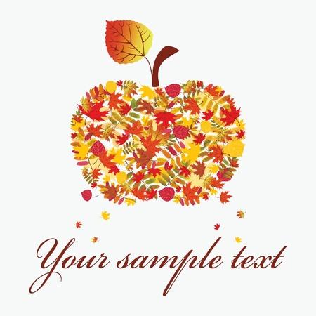 Autumn apple on a white background. illustration.  Vector