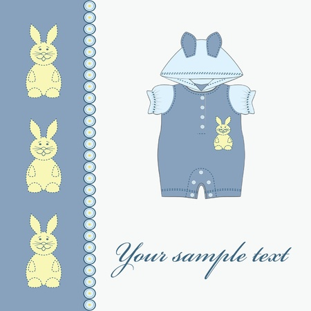 Baby boy card. Clothing for babies.  Illustration