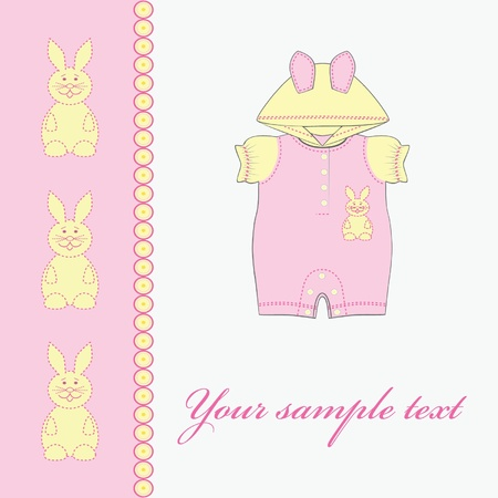 Baby girl card. Clothing for babies.